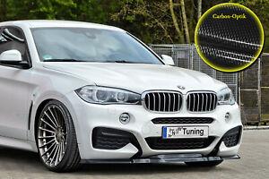 Spoilerschwert Frontspoiler Cuplippe aus ABS für BMW X6 F16 M-Paket Carbon Optik