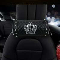 2Pcs Lovely Cartoon Crown Black Car Headrest Neck Pillow Cushion Headrest