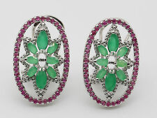 FINE! NATURAL 15x25mm RED RUBY-GREEN EMERALD Gemstone OVAL SLIVER EARRING