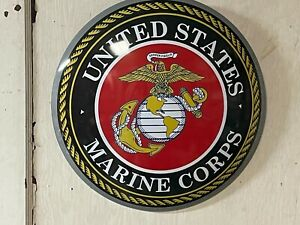UNITED STATES MARINE CORPS~ LARGE ROUND DOME SIGN~MANCAVE ~ SEMPER FIDELIS