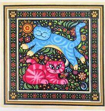 "Dan Morris Cat Fabric Sew Catty 7.25"" Quilt Block Square Bright Beautiful #11mn"
