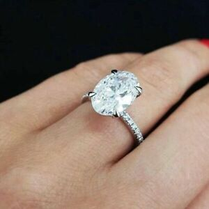 Gorgeous 925 Silver Rings for Women White Sapphire Wedding Jewelry Size 7