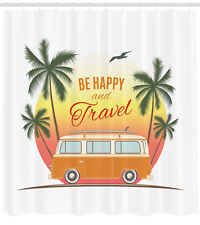 Retro Hippie Surf Van with Palms Be Happy Free 60s Themed Shower Curtain Set