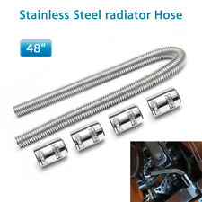 """48"""" Stainless Steel Upper / Lower Radiator Hose Kit with Chrome Caps Practical"""