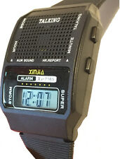 HUMAN VOICE A1 loud & clear SPANISH TALKING ALARM WATCH, rooster crow sound