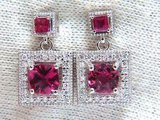 2.82ct natural tourmaline ruby diamond dangle earrings 14kt petite+