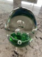 "PAPERWEIGHT green clear spiral egg 3 ¼"" Art Glass Superb HAND BLOWN"