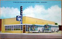 1952 Postcard: Overland Greyhound Bus Depot - Sidney, Nebraska NE