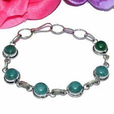 Plated Bracelet Bb37 Green Onxy Gemstones Silver