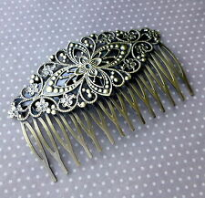 2 pcs  Antique Bronze Hair Comb with Filigree
