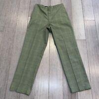 Vtg 50s 60s Mens 30 28.5 Pants WOOL Dress Slacks Olive Plaid Midcentury Rat Pack