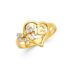16 Birthday Heart Bow Cluster Ring Band Girl 14k Yellow Real Gold Cz Sweet