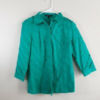 Lafayette 148 New York Womens Button Down Blouse Top Size 8 Teal Ruffle