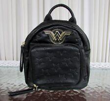 DC Comics Wonder Woman Embossed Mini Black Backpack Bioworld Cosplay Bag NWT