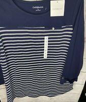 NEW! Croft&Barrow Women's 3/4 Sleeve Blue/White Stripe Flattering Top Size L