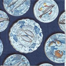 Lot de 4 Serviettes en papier Assiettes de la Mer Decoupage Collage Decopatch
