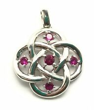 Sterling Silver 925 Round Pink Tourmaline Swirl Loop Flower Infinity Pendant