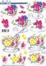 Anémona & Flores de primavera Die Cut 3D Decoupage Sheet elaboración de tarjetas sin corte