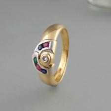 Ring mit Edelsteinen + Brillant in 750/18k Weiß-/Gelbgold