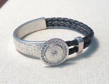 """Premier Designs Jewelry BUTTONS 7 1/2"""" Bracelet Silver & Black Faux Leather"""