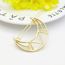 Gold Triangle Hair Clip Pin Metal Geometric Alloy Moon Ponytail Barrette▍