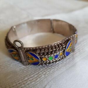 Ancien Bracelet Manchette Argent massif silver Emaux Berbère Kabyle