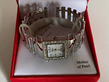 NEW! STYLE & CO SILVER MOTHER OF PEARL FACE CRYSTALS EMBELLISHED WATCH SC1230