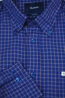 Faconnable Men's Riviera Blue Pink Check Luxury Cotton Casual Shirt L Large