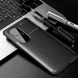 For Huawei P50 / P50 Pro Luxury Flexible Shockproof Carbon Fiber TPU Case Cover