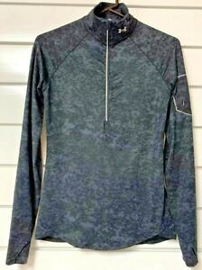 Under Armour Womens Small 1/2 Zip Pullover Top Black Gray Long Fitted Reflective