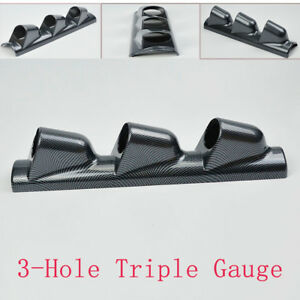 Trig 2'' Car Carbon Fiber Look Pillar 3 Hole Triple Gauge Meter Mount Holder Pod