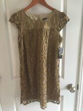NWT Women's INC  International Concepts Gold Net Lace Sz 8 Petite Shift Dress