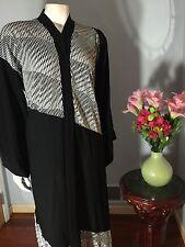 "Very Fancy Black Khaleeji Dubai Half Open Abaya Jilbab With Hijab Size L 58"""