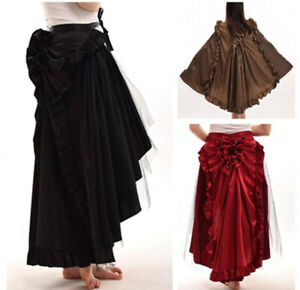 2 in 1 Vintage Bustle Skirt Cape Women Punk Gothic Cape Victorian Long Ruffle