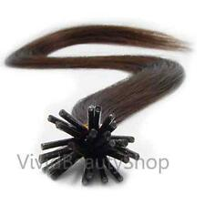 100 I Stick Tip Micro Bead Straight Remy Human Hair Extensions Chestnut Brown #6
