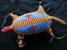 VINTAGE NATIVE AMERICAN BEADED LEATHER FETISH, TURTLE AMULET,  SD-1020*D-320