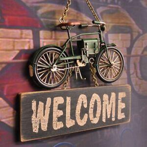 HappyHomeEngineer Vintage Unique Hanging Welcome Sign Door Green Bicycle