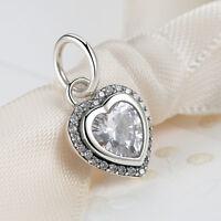 Christmas Day 925 Sterling Silver Love Heart Charm Pendant fit Bracelet/Necklace