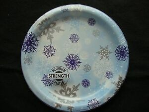 8 x Blue & Silver Snowflakes paper Plates Christmas Buffet Dessert plates