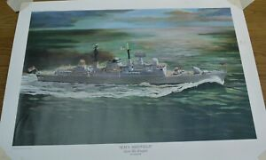 "Large Colour Print ""Lest We Forget"" HMS SHEFFIELD Guided Missile Destroyer, 1982"