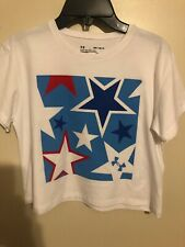 Under Armour UA Youth Girls' Americana Stars Crop T-shirt Tee Size M Nwts White