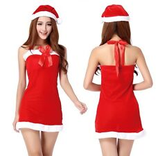 d2b3cd31b04 New Womens One Size 2-pc SANTA Halter Dress Christmas Holiday Costume  Cosplay