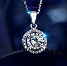 Brilliant 18K White Gold Plated Round CZ Pendant Necklace with Gift Pouch NF13