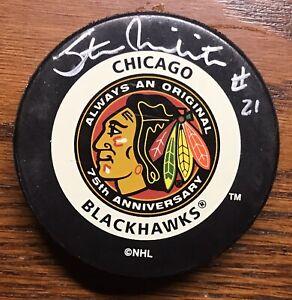 Autographed Hockey Puck  -  CHICAGO BLACKHAWKS  -  STAN MIKITA