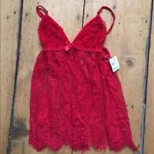 Frederick's of Hollywood Lily Lace Lingerie Red Teddie Small NWT