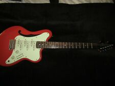 More details for italia imola vario red semi hollow body electric guitar for sale with hard case