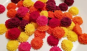 12 Edible Sugar Chrysanthemums, Bright Cake Decorations, Vibrant Cupcake Toppers