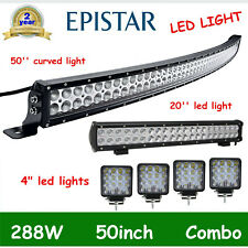 "CURVED 50INCH 288W LED LIGHT BAR DRIVING+20"" 126W COMBO+4X 4"" 48W SPOT CUBE PODS"
