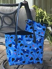 KATE SPADE BLOOM LARGE REVERSIBLE TOTE SHOULDER BAG ENCHANTED FOREST BLUE POUCH