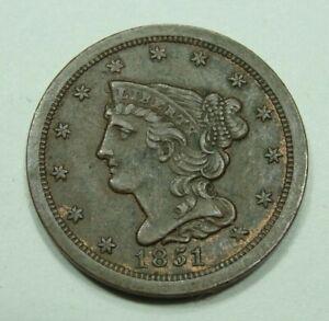 "1851 US Braided Hair Half Cent ""Looks XF+"""